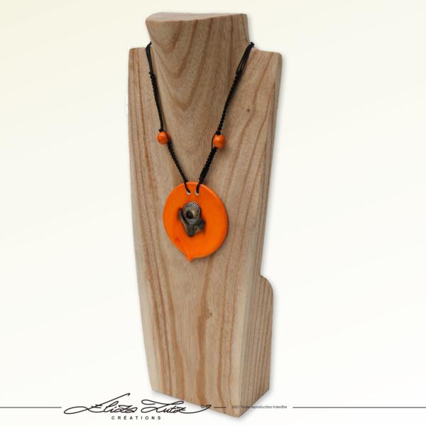 Céramique_Collier_Bouton d'or_orange argent_03_ElizaLUTZ